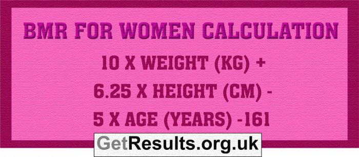 Get Results: BMR women calculation