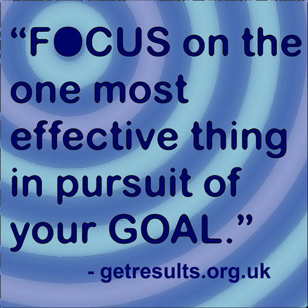 Get Results: focus on the one most effective thing in pursuit of your goal