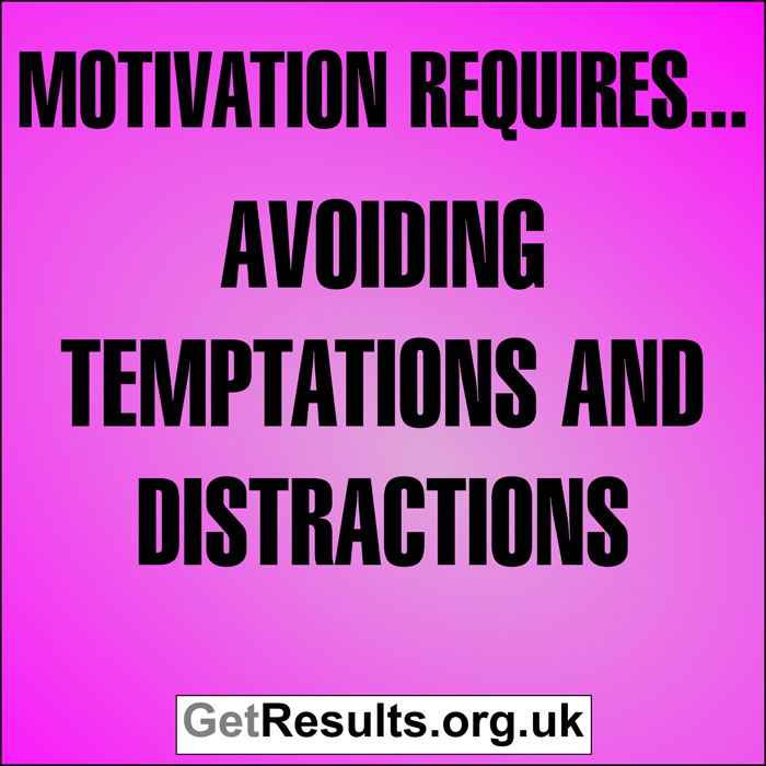 Get Results: Motivation requires...avoiding temptations and distractions
