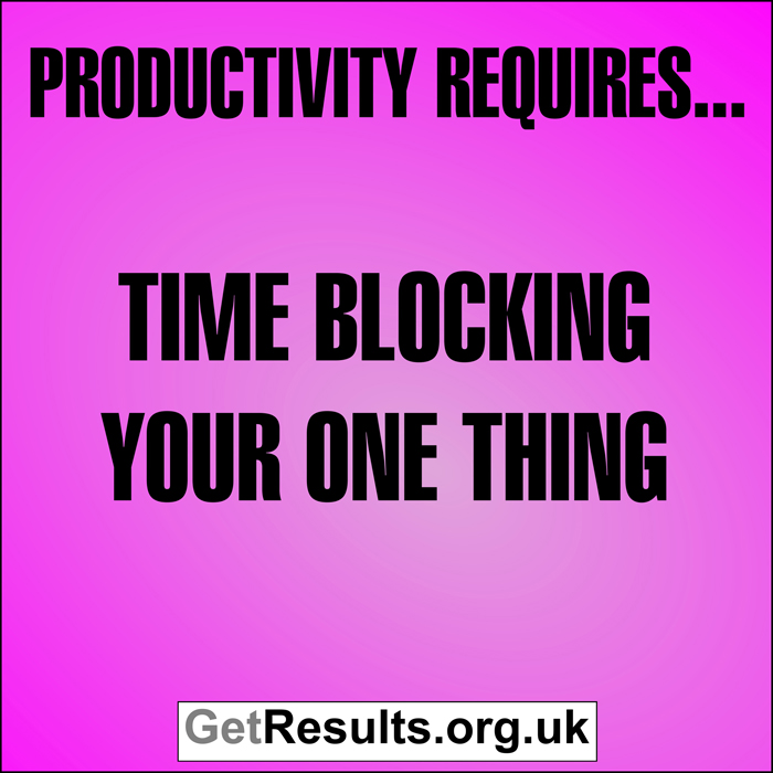 Get Results: Productivity requires time blocking your one thing
