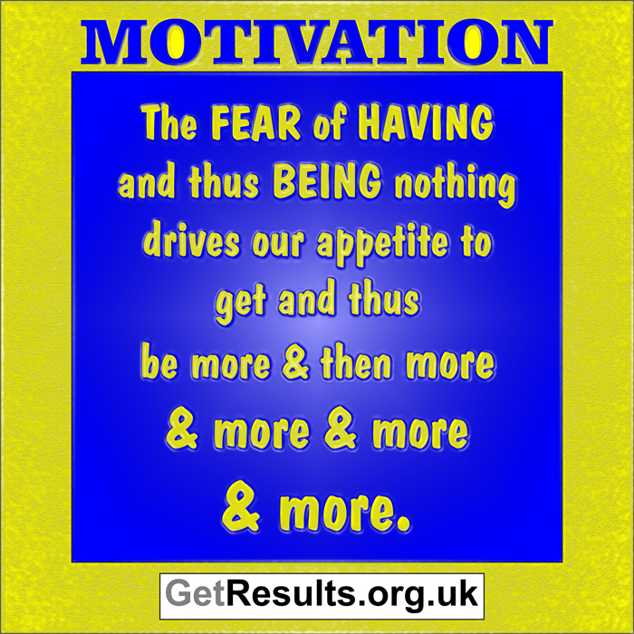 Get Results: motivation fear drives appetite for more