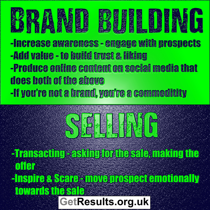 Get Results: brand building vs selling